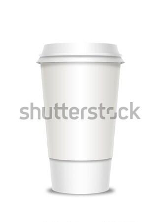 чашку кофе шаблон кофе пластиковых Recycle изолированный Сток-фото © Natashasha