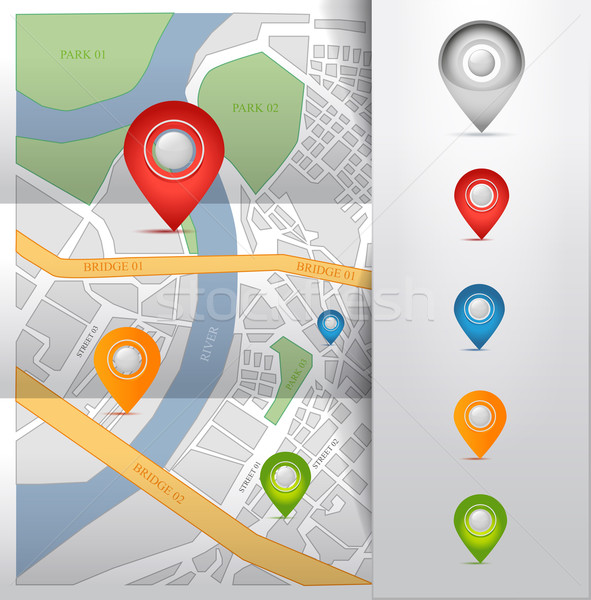 Miasta Pokaż GPS ikona odizolowany szkła Zdjęcia stock © Natashasha