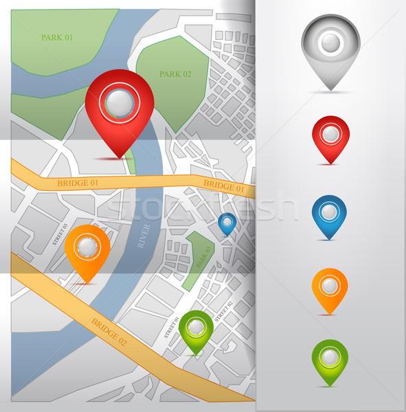 Ville carte GPS icônes isolé verre Photo stock © Natashasha