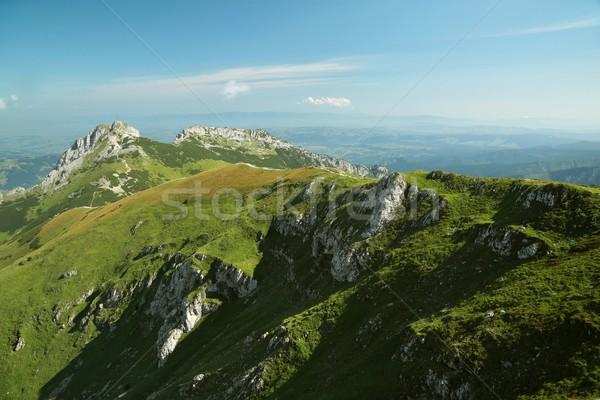 Montanas Polonia hierba puesta de sol naturaleza paisaje Foto stock © nature78