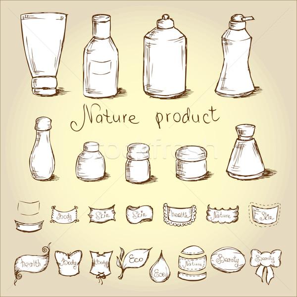 Conjunto garrafas etiqueta corpo garrafa Foto stock © naum
