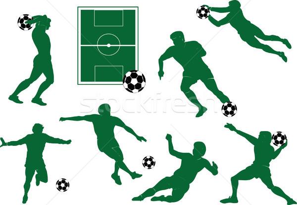 シルエット サッカー プレーヤー 男 サッカー 背景 ストックフォト © naum
