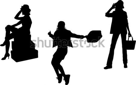 セット 女性 袋 荷物 シルエット ビジネス ストックフォト © naum