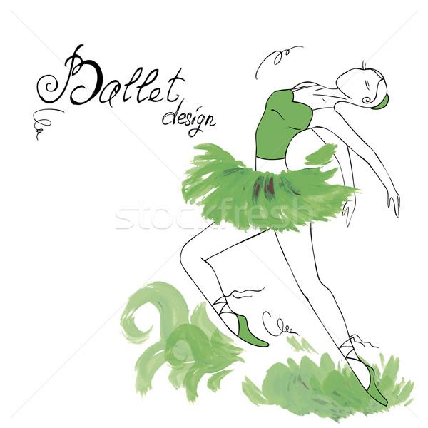 Balletdanser tekening aquarel stijl muziek gezicht Stockfoto © naum