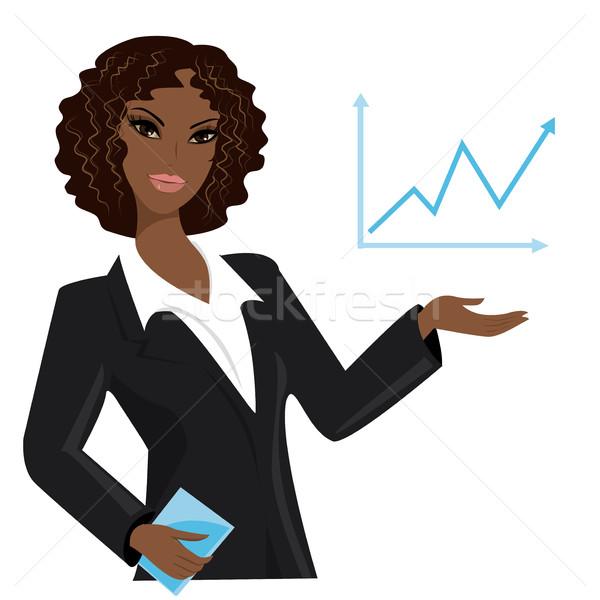 アフリカ系アメリカ人 ビジネス女性 ポインティング ビジネス トレンド スーツ ストックフォト © naum
