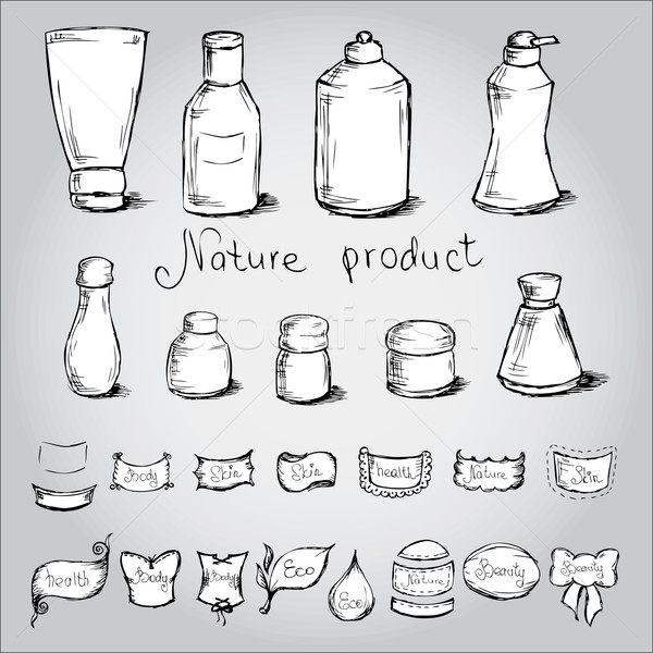Set bottles, tubes and  them label . Vector illustration. Stock photo © naum