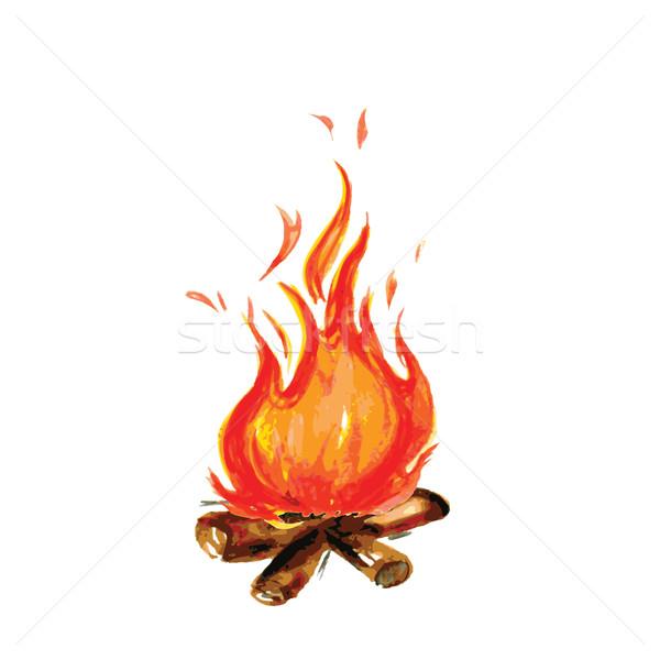 火災 描いた 水彩画 スタイル 塗料 ホット ストックフォト © naum