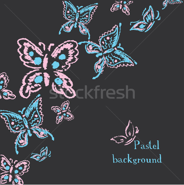 handmade drawing pastel chalks butterfly  on black background Stock photo © naum