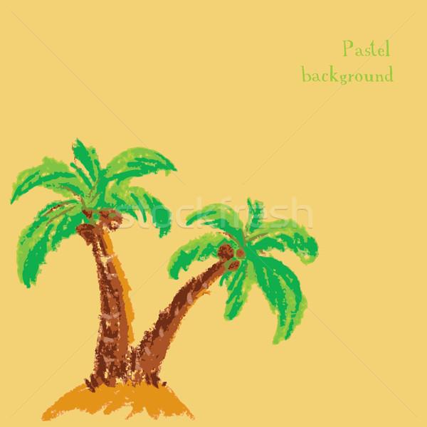 Kézzel készített rajz pasztell pálmafa víz fa Stock fotó © naum
