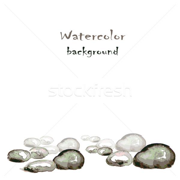Vízfesték kövek fehér vektor textúra természet Stock fotó © naum
