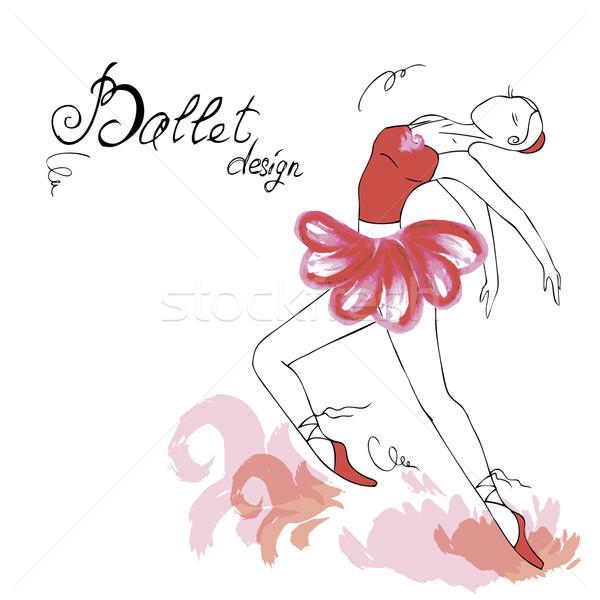 Stockfoto: Balletdanser · tekening · aquarel · stijl · muziek · gezicht