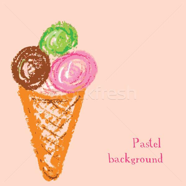 ハンドメイド 図面 パステル アイスクリーム 水 抽象的な ストックフォト © naum