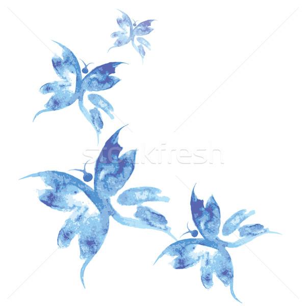 Stock photo: Beautiful watercolor butterflies pattern,background,