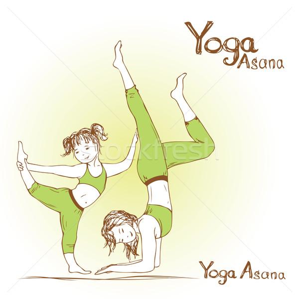 Foto stock: Nina · mujer · yoga · trabajo · deporte · cuerpo