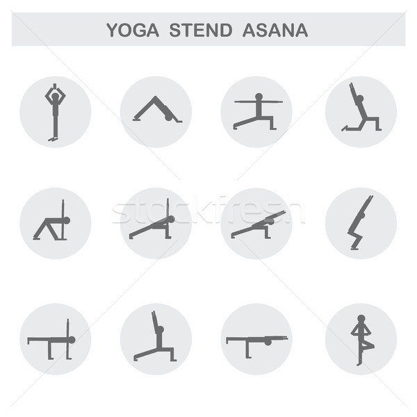 Set of icons. Poses yoga asanas. Vector Stock photo © naum