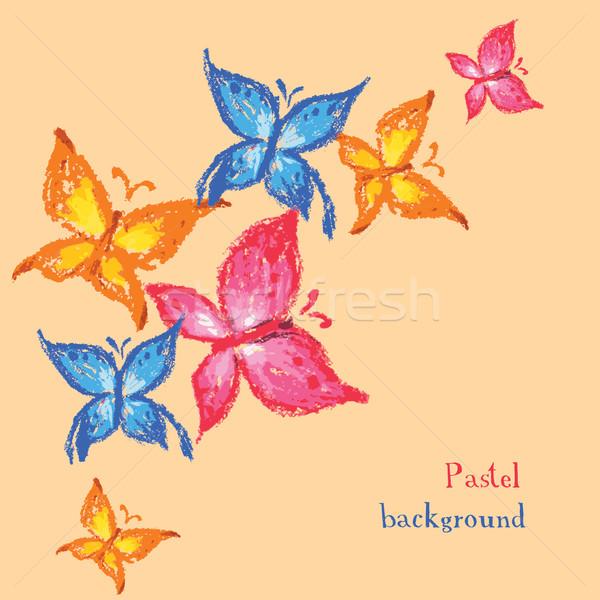 Vector illustration handmade drawing pastel chalks butterfly bac Stock photo © naum