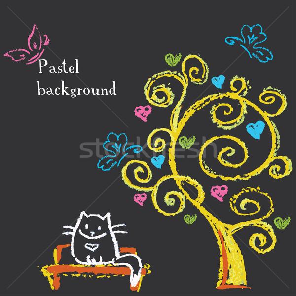 かわいい 猫 座って ベンチ ツリー 心 ストックフォト © naum