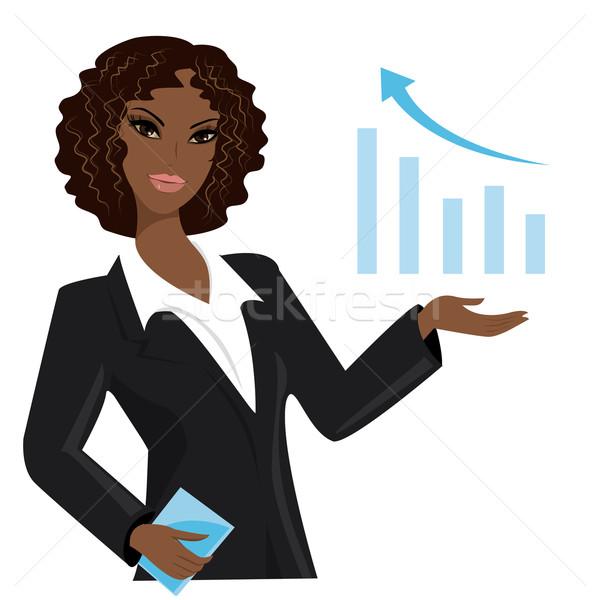 アフリカ系アメリカ人 ビジネス女性 ポインティング ビジネス トレンド 執行 ストックフォト © naum