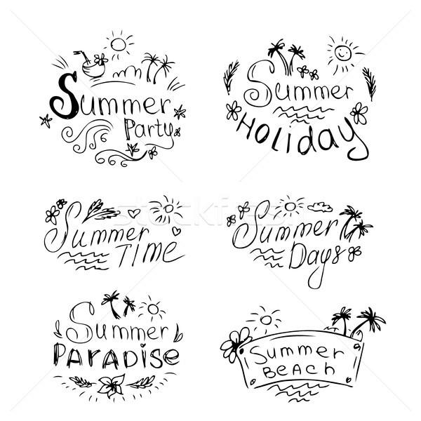 Stockfoto: Vector · ingesteld · zomer · reizen · vakantie · symbolen