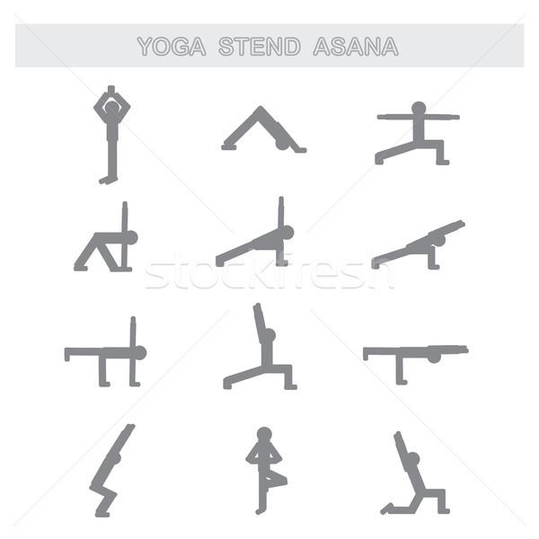 Set of icons. Poses yoga asanas.   Stock photo © naum