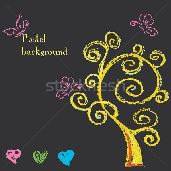 Fa szívek festett pasztell zsírkréta textúra Stock fotó © naum