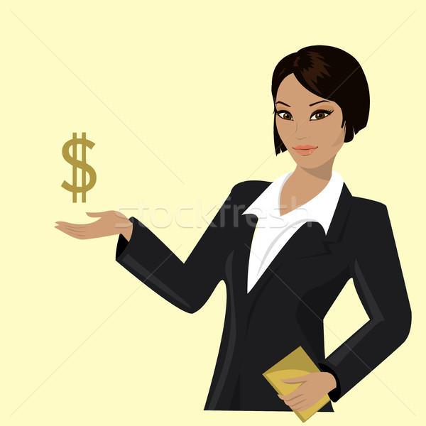 Stockfoto: Asian · zakenvrouw · wijzend · business · trends · pak