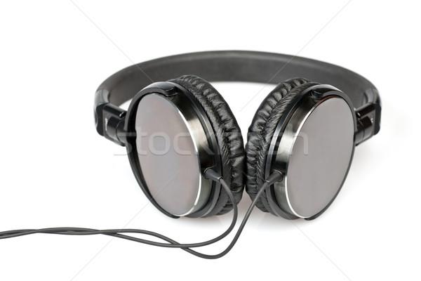 Hoofdtelefoon witte monitor kabel zwarte Stockfoto © naumoid
