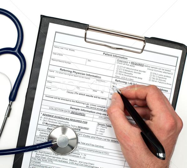 Beteg információ kéz toll információ sztetoszkóp Stock fotó © naumoid