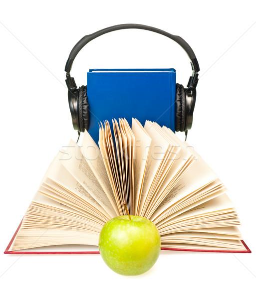 Açık kitap yeşil elma merhaba kulaklık mavi Stok fotoğraf © naumoid