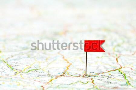 Rood kleur vlag pin kaart Stockfoto © naumoid