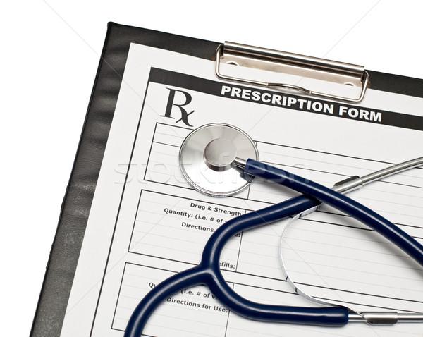 Rx estetoscópio prescrição forma clipboard trabalhar Foto stock © naumoid