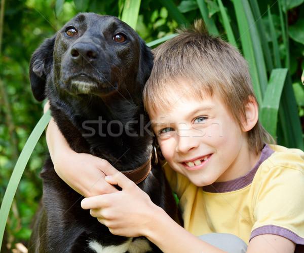 çocuk köpek siyah açık havada Stok fotoğraf © naumoid