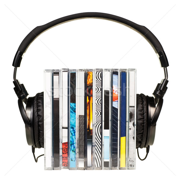 Headphones on stack of CDs Stock photo © naumoid