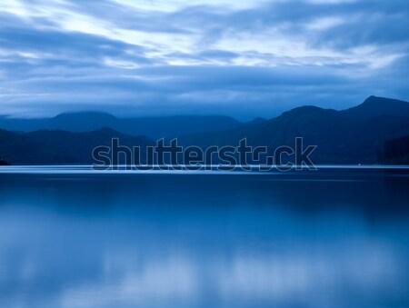 Pôr do sol Nova Zelândia água beleza montanha verão Foto stock © naumoid