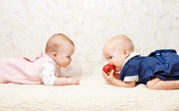 Kettő gyermekek alma kicsi lánycsecsemők játszik Stock fotó © naumoid