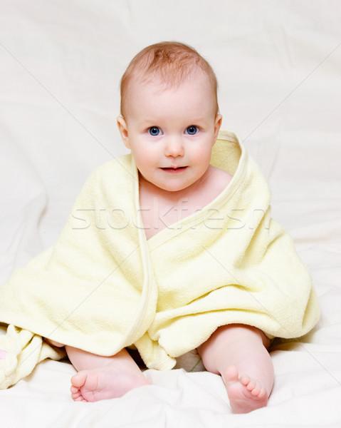 özenli bebek sekiz ay sarı Stok fotoğraf © naumoid