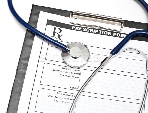 Rx estetoscópio prescrição forma clipboard médico Foto stock © naumoid
