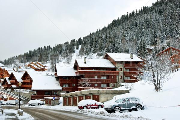 Stockfoto: Ski · resort · sneeuwstorm · weg · gebouw · sport