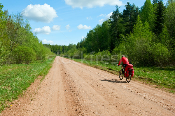 Travelling cyclist Stock photo © naumoid