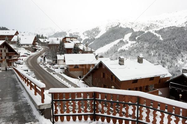 Ski resort sneeuwstorm huis gebouw stad Stockfoto © naumoid