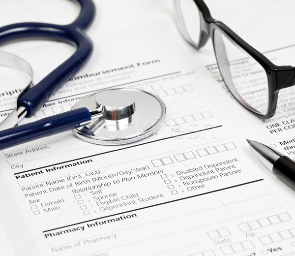 Rx paciente informações caneta estetoscópio óculos Foto stock © naumoid