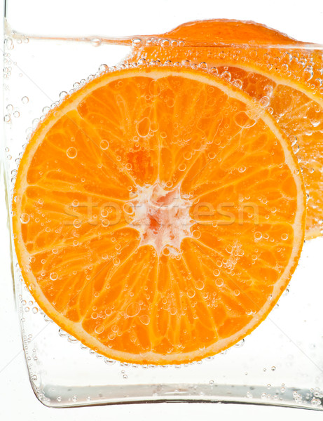 Pomarańczowy pomarańczowy plasterka wody pęcherzyki żywności owoców Zdjęcia stock © naumoid