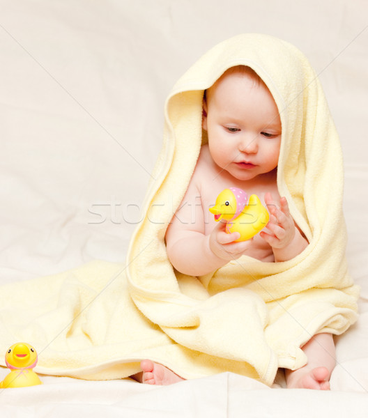 Infant with rubber duck Stock photo © naumoid