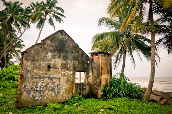 Tsunami casa Sri Lanka árvore edifício Foto stock © naumoid
