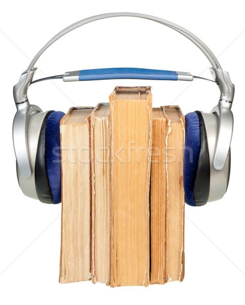 Auriculares edad libros aislado Foto stock © naumoid