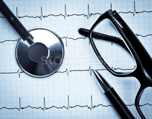 Stethoscope on EKG Stock photo © naumoid