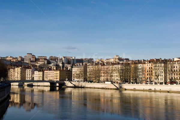 Lyon cityscape banco rio cidade céu Foto stock © naumoid