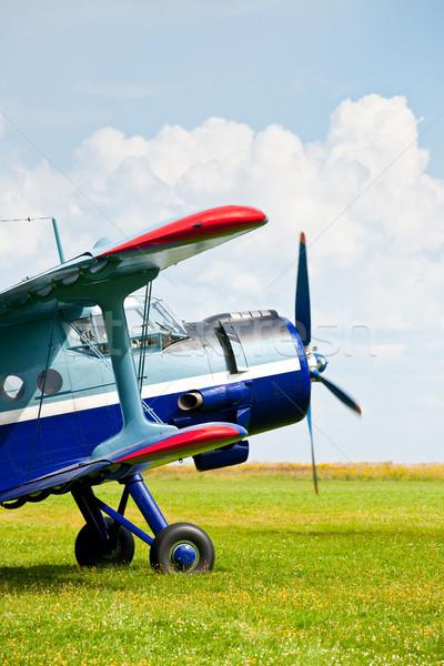 Sport vliegtuig vintage vliegtuigen klaar Stockfoto © naumoid