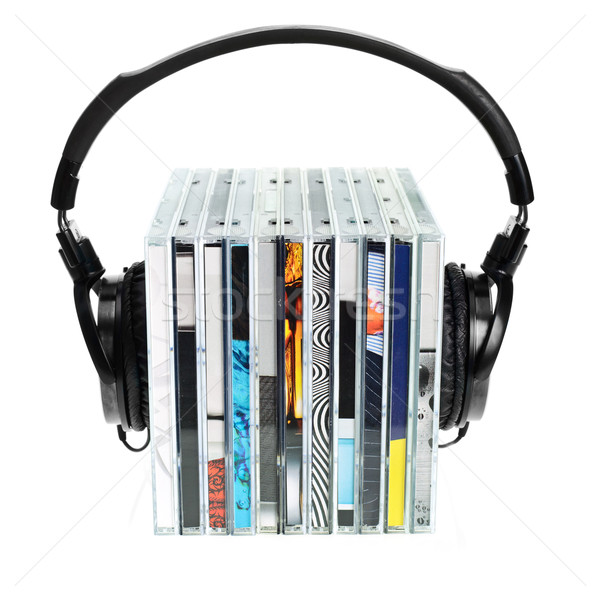 Casque cds blanche groupe Photo stock © naumoid