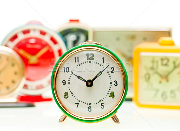 Wekker ingesteld vintage mechanisch alarm klokken Stockfoto © naumoid
